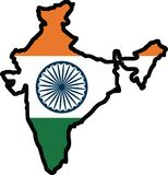 INDIA MAP FLAG Stock Images
