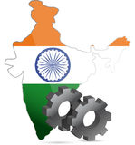 India map flag and gears illustration design Stock Images