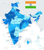India - map and flag - illustration Royalty Free Stock Image