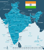 India - map and flag - illustration Royalty Free Stock Photography