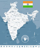 India - map and flag - illustration Royalty Free Stock Photos