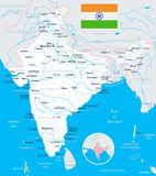 India - map and flag - illustration Stock Photography