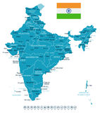 India - map and flag - illustration Stock Images