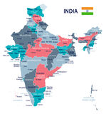 India - map and flag - illustration Stock Photos