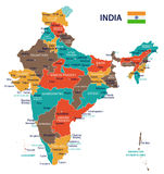 India - map and flag - illustration Stock Image