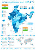India - map and flag - infographic illustration Royalty Free Stock Photos