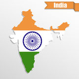 India map with flag inside and ribbon Royalty Free Stock Images