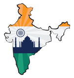 India. Map of India with flag and Taj Mahal Stock Images