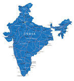 India map. Highly detailed vector map of India with administrative regions,main cities and roads Royalty Free Stock Photos