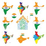 India map, indian cities, states and india flag Royalty Free Stock Images