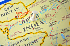 India map. Macro shot of india map with push pin stock photography