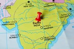 India map. Macro shot of india map with push pin stock image