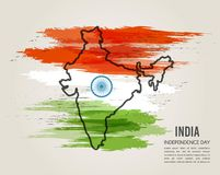 India map in national flag tricolors. Abstract background for  Independence Day. Stock Photos