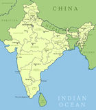 India map. Outline illustration country map with state names and their capital cities Royalty Free Stock Image