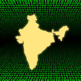 India map over binary code Stock Images