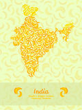 India map poster or card. Banana illustration. Healthy food postcard. Royalty Free Stock Photo