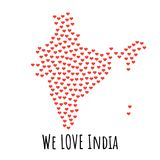India Map with red hearts - symbol of love. abstract background. India Map with red hearts- symbol of love. abstract background with text We Love India. vector Stock Images