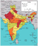 India map with selectable territories. Vector Royalty Free Stock Photography