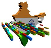 India map with stacks of containers Royalty Free Stock Photos