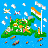 India Map Touristic Isometric Poster Royalty Free Stock Photo