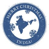 India map. Vintage Merry Christmas India Stamp. Royalty Free Stock Photography