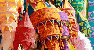 India. Market With Many Traditional Colorful Handmade Indian Fabric Lanterns. Popular Souvenirs From India
