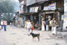 1977. India. Market street in Chamba. The photo shows, a market street near the bus station in Chamba Royalty Free Stock Photography