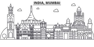 India, Mumbai architecture line skyline illustration. Linear vector cityscape with famous landmarks, city sights, design. Icons. Editable strokes Stock Photo
