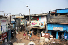 India, Mumbai - November 19, 2014: Dharavi Slums and workshops Stock Photo