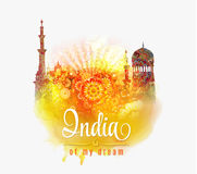 India of my dream. Illustration of India in saffron and green color splash floral background . Royalty Free Stock Photography