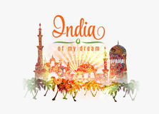 India of my dream. Illustration of India in saffron and green color splash floral background on traditional flag colors . Royalty Free Stock Photography