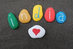 India, my love, Welcome to India postcard with colored stones Stock Image