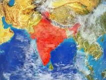 India na ziemi od przestrzeni ilustracja wektor