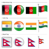 India and Nepal, Afghanistan Flag Icon Stock Photos