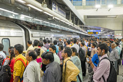 INDIA, NEW DELHI - APRIL 5, 2017: Commuters travelling by metro Royalty Free Stock Photo