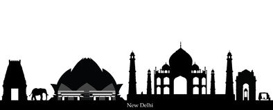 India new delhi skyline vector illustration