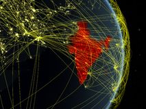 India at night on planet planet Earth with network. Concept of connectivity, travel and communication. 3D illustration. Elements. Of this image furnished by stock illustration