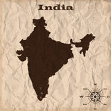 India old map with grunge and crumpled paper. Vector illustration Royalty Free Stock Image