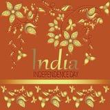 India Onafhankelijkheidsdag op oranje achtergrond Stock Afbeelding