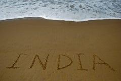 India op zandig strand Stock Afbeeldingen