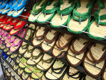India-Osho Footwear. A special type of colorful slippers made from bamboo sticks and velvet popularly known as osho slippers in india Stock Photos