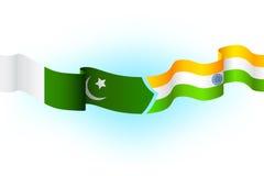 India Pakistan. Illustration of flag of India and Pakistan waving Stock Photo