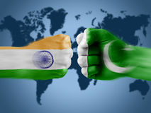 India x Pakistan. India and Pakistan - boxing fists royalty free illustration