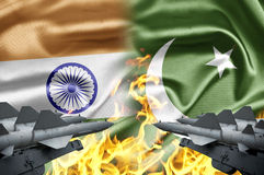 India and Pakistan. The confrontation between India and Pakistan royalty free stock image