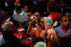 India and Pakistan border. People at the traditional flag lowering ceremony on the India and Pakistan border near to Amritsar stock images