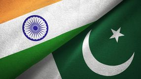 India and Pakistan two flags textile cloth, fabric texture. India and Pakistan flags together relations textile cloth, fabric texture vector illustration