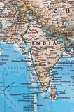 India and Pakistan. India, Pakistan and their borders and neighbors on the map royalty free stock images