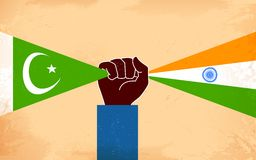 India and Pakistan Unity. Illustration of hand joining flag of India and Pakistan Royalty Free Stock Image