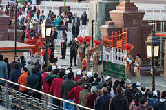 The India-Pakistan Wagah Border Closing Ceremony. AMRITSAR, INDIA, DEC - 6, 2014: The India-Pakistan Wagah Border Closing Ceremony. It happens at the border gate royalty free stock images