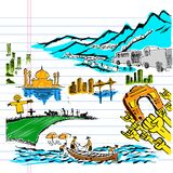 India on Paper Stock Image